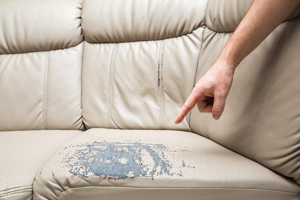 Cracked leather sofa