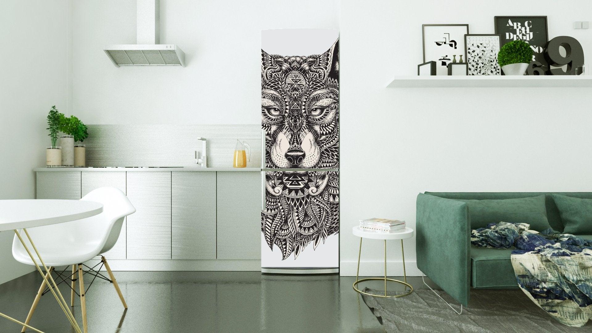 Vinilo de motivo animal, lobo, para decorar la nevera.