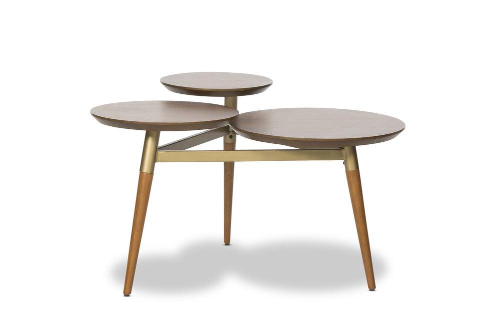 Mesa vintage de madera y metal.