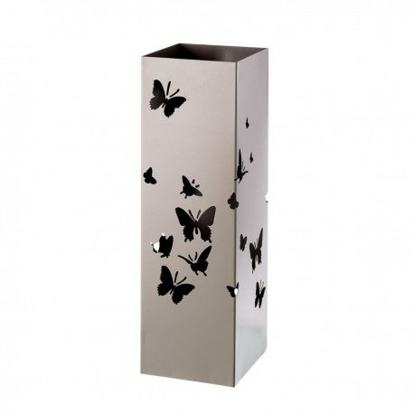 Paragüero metálico con siluetas de mariposas para decorar.
