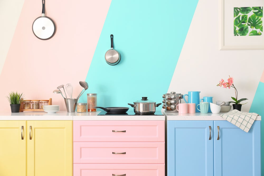 Pastel colors are perfect for creating multicolored decor.