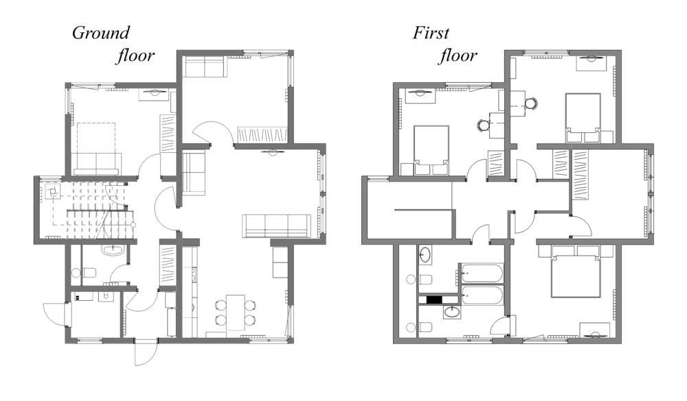 Coincidencia de los planos de los pisos.