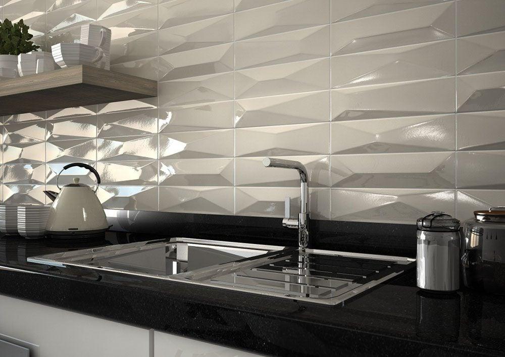 Azulejos con relieve para la cocina decoraci n y originalidad for Cocina con azulejos blancos