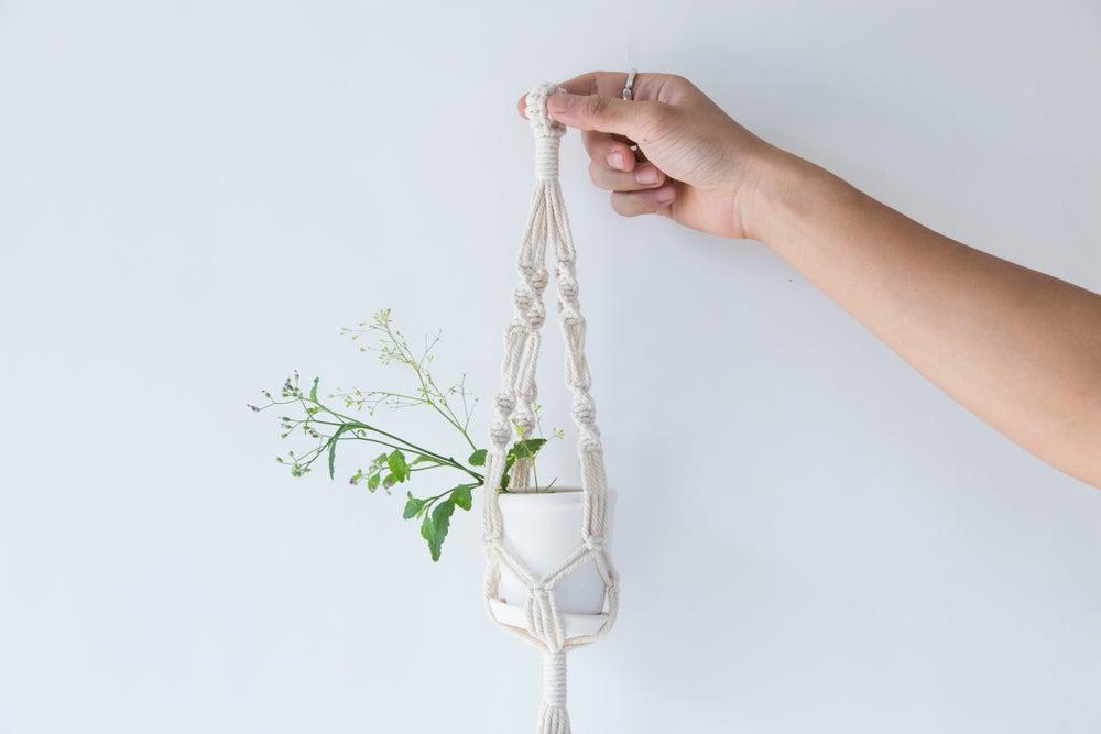 Colgador de plantas de macramé