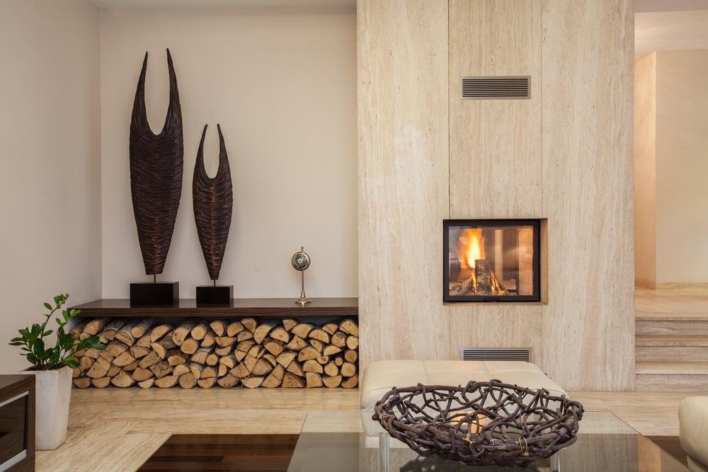 escultura abstracta chimenea salón