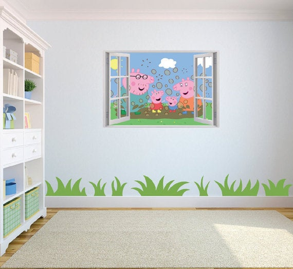 Peppa Pig themed bedroom decor.