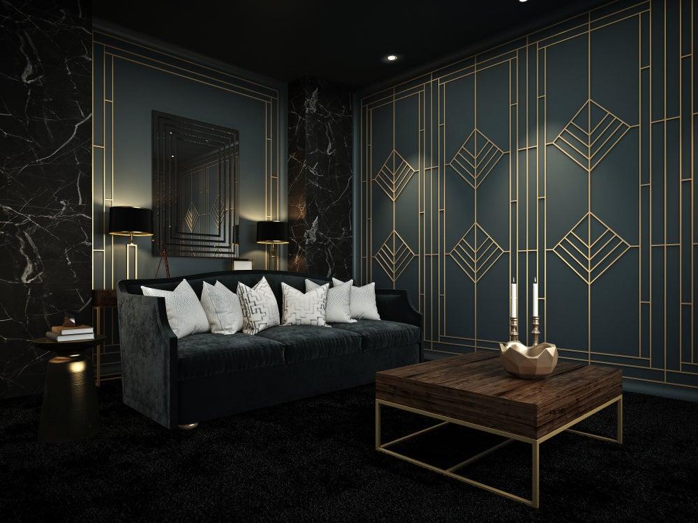 Salón en estilo elegante y oscuro, art decó