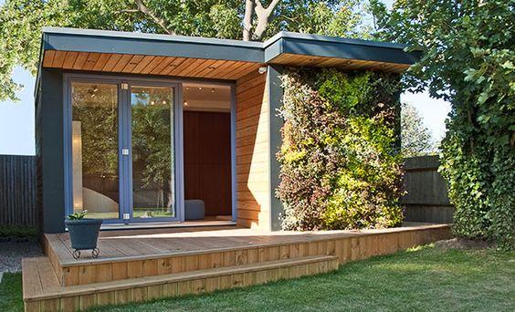 cabinas prefabricadas en el patio de casa