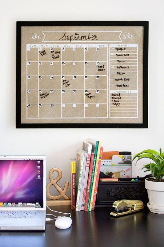 calendario mensual de cartón
