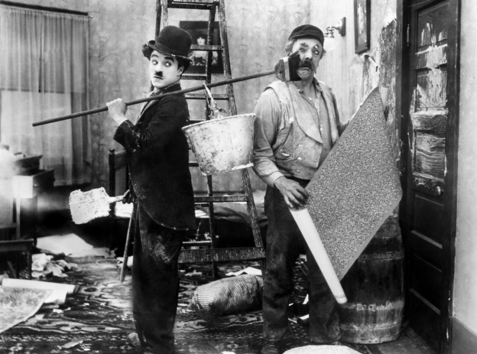 fotografía en blanco y negro de Charles Chaplin