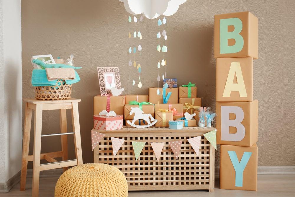 fiesta de baby shower en colores pastel