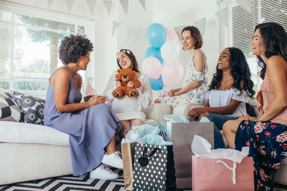 fiesta de baby shower en celeste y rosa