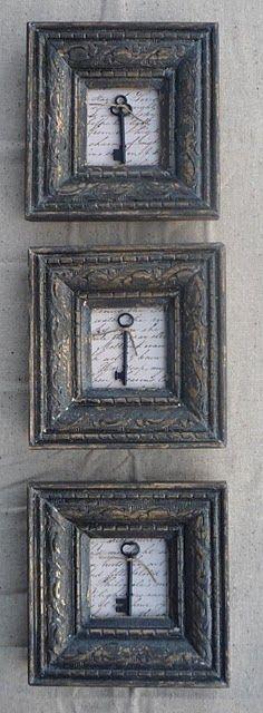 marcos de madera con llaves
