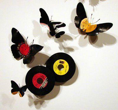 DIY mariposas con vinilos, discos, CDs