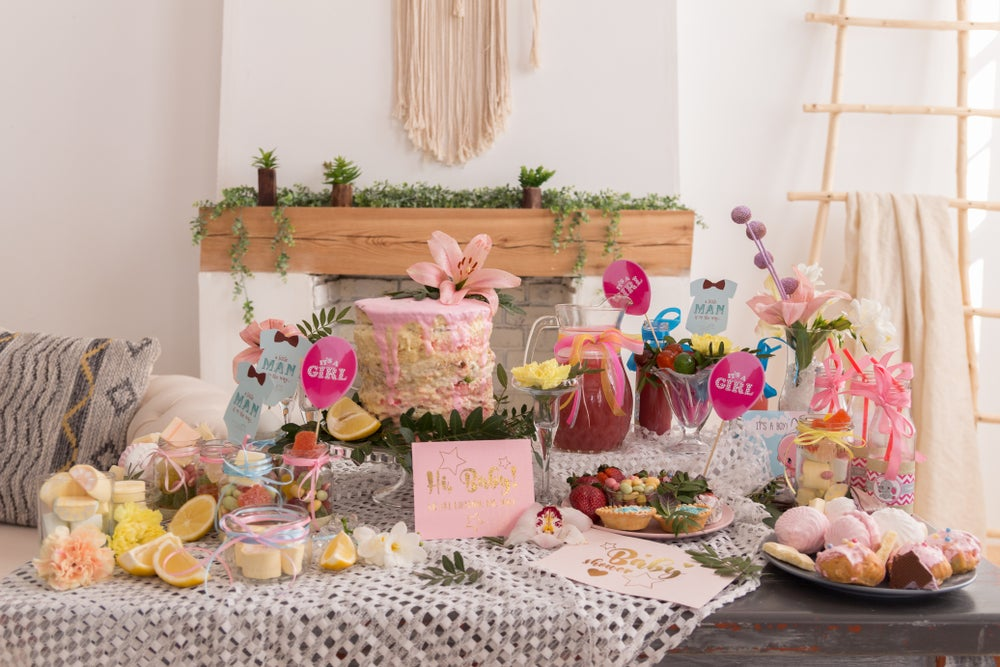 decoración de mesa para un baby shower