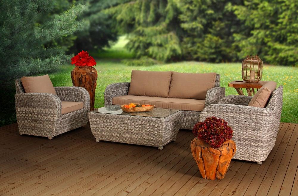 muebles de jardín ratán, espacio de recreo