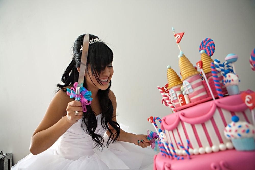 tarta en fiesta de 15 años