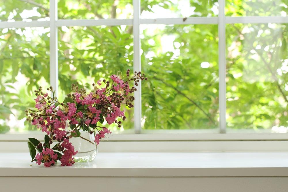 Flores para decorar la ventana.