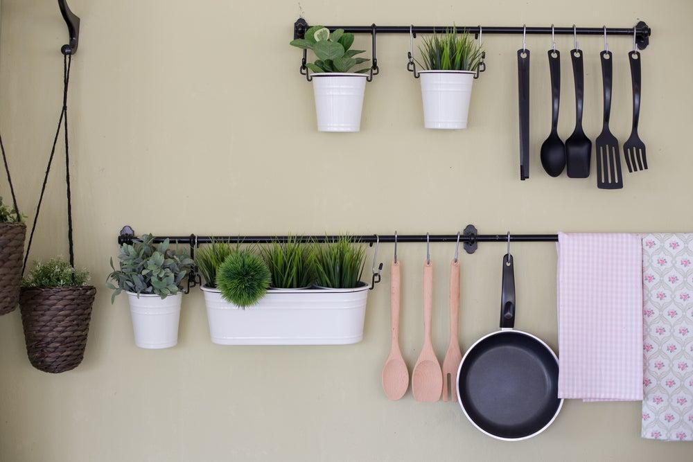 Rincón de cactus en la cocina.