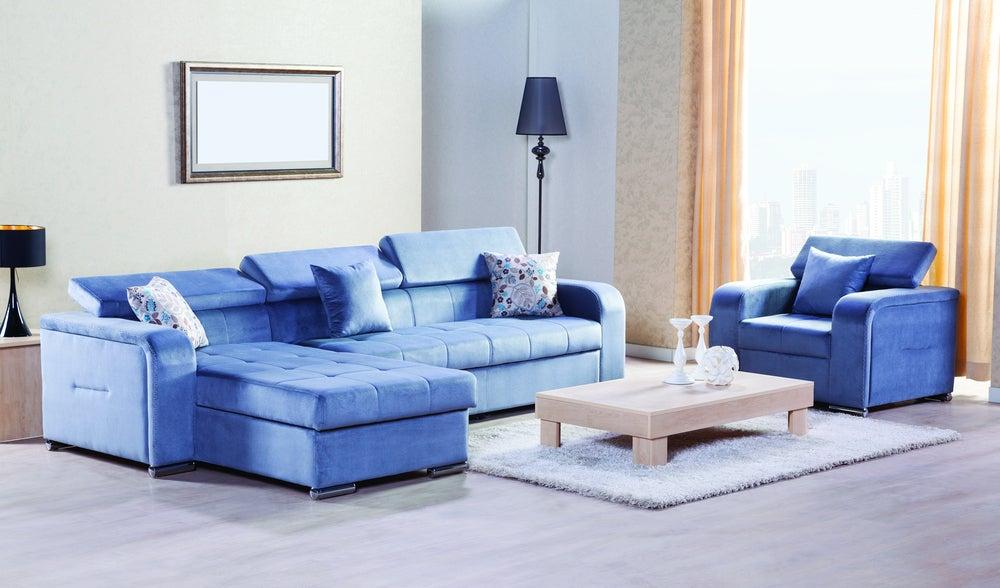 Sofás azules.