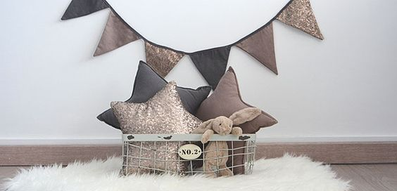 Decorate bunting with sequins.