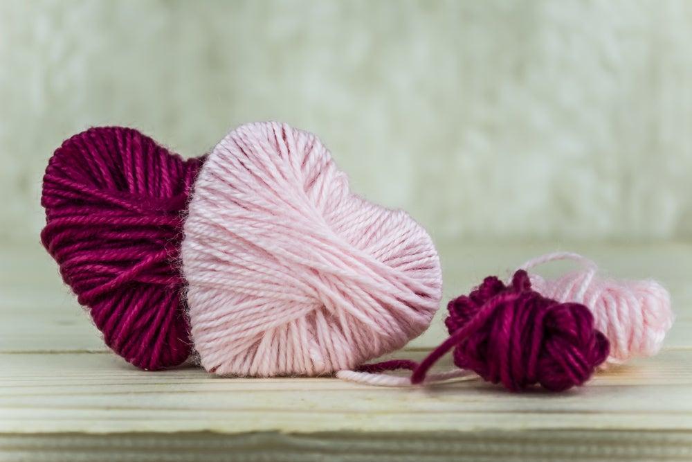 Corazones de lana.