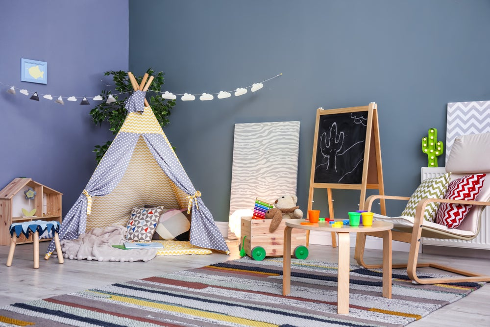 Fill the teepee with cushions and toys.