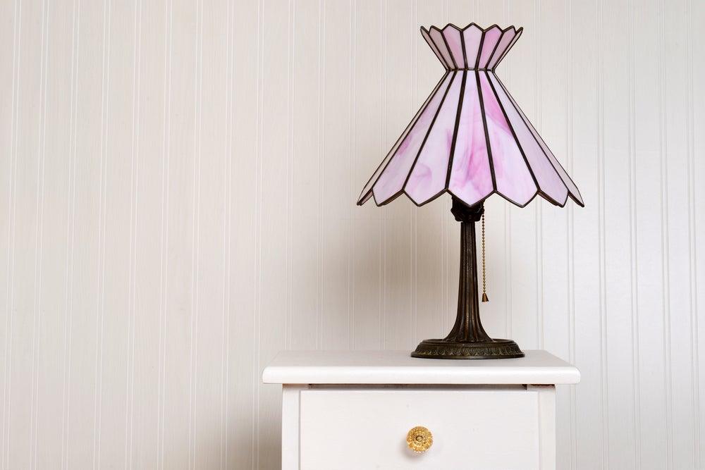 Lámpara Tiffany en rosa.