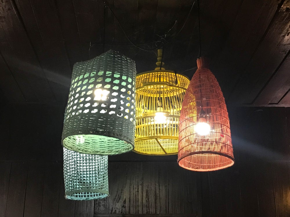 Colored ceiling lamps.