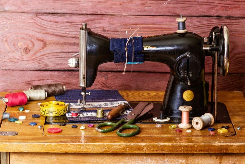 máquina de coser decorada