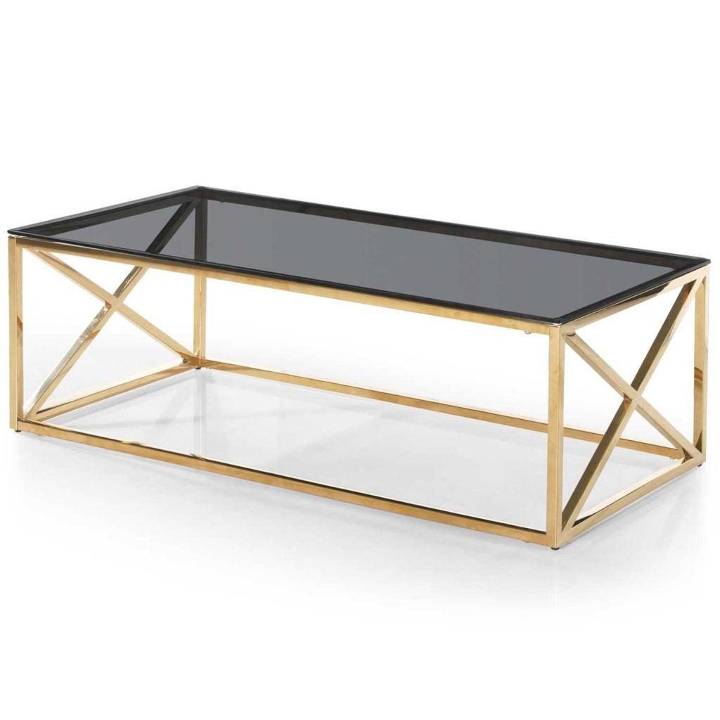 Mesa dorada con cristal negro.