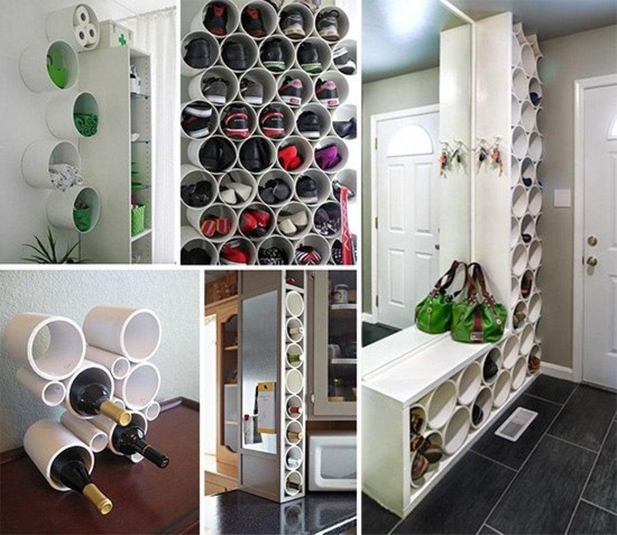 Organizador de zapatos con botes de pintura.