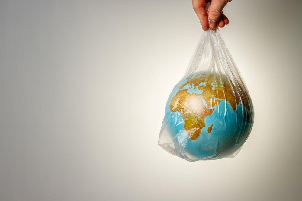 Bola del mundo de plástico.