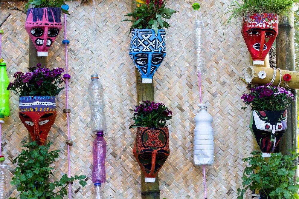 DIY plastic bottle decorations.
