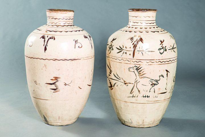 Jarrones cerámica vidriada.