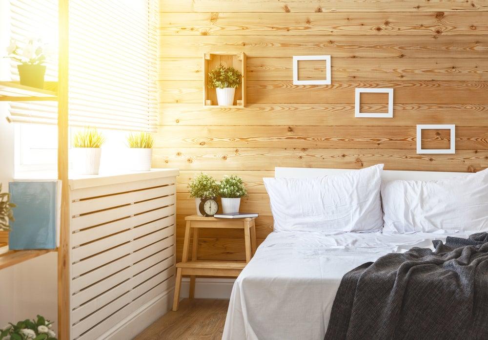 Tablas de madera en pared.