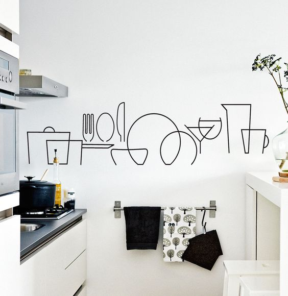 Vinilo en pared de cocina.