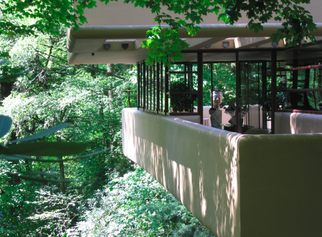 The terraces of Fallingwater hang over the river.