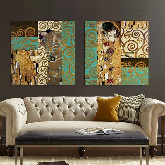 Decoración inspirada en la obra de Klimt