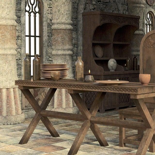 Decoración al estilo medieval para un salón.