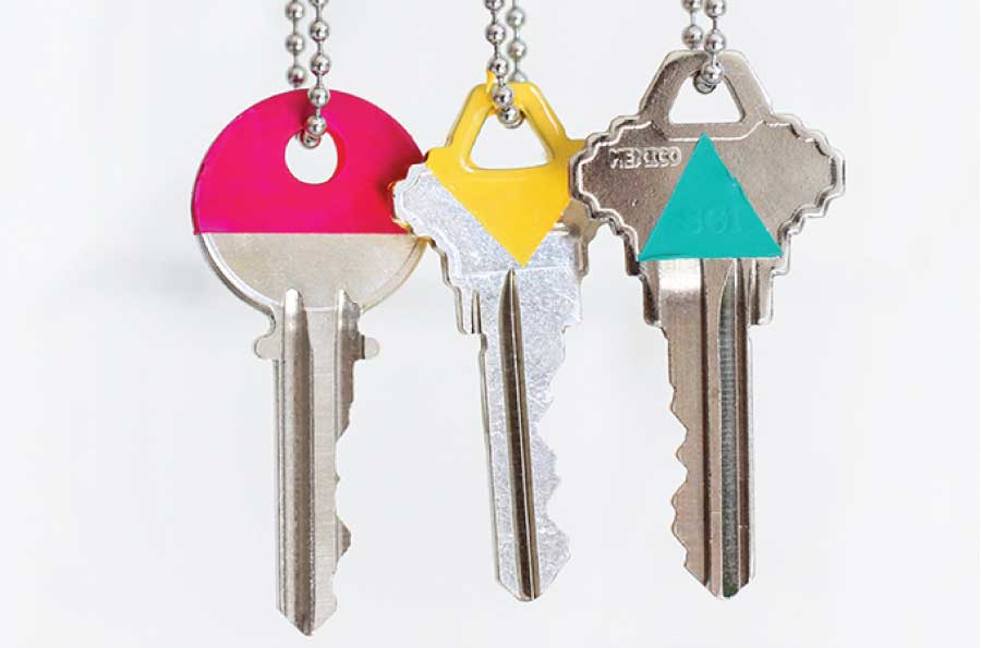 Decorate your keys so you can identify them.