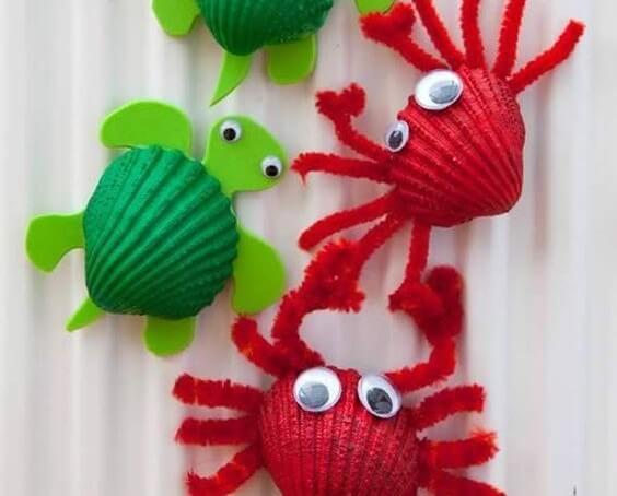 Animales hechos con conchas.
