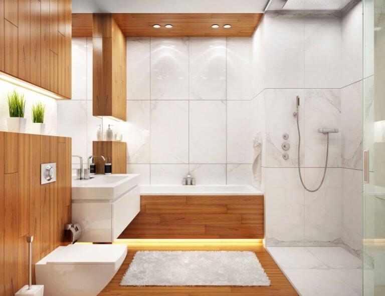 Diseño de baño moderno con madera y piedra