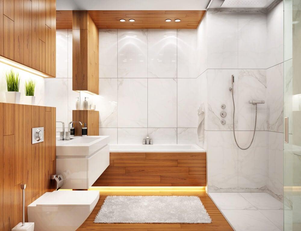 Baño moderno de madera.