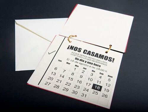 Calendario invitación de boda.
