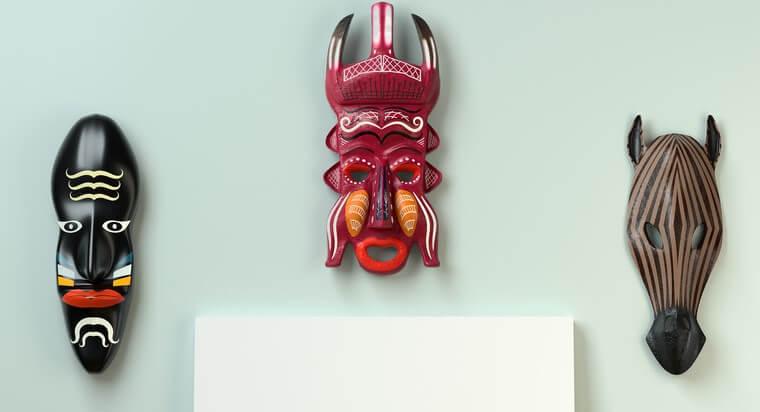 Decoración africana con máscaras.