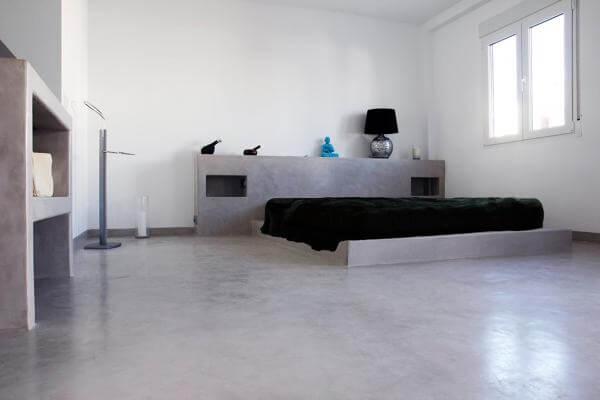 Dormitorio microcemento.