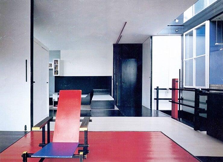 Espacio interior de la Casa Rietveld.