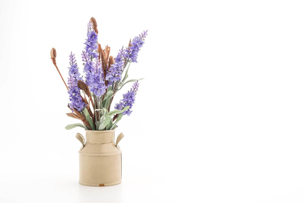 Jarrón con flores lilas.
