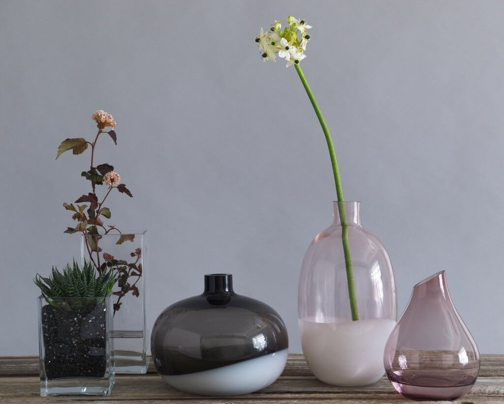 These modern style vases from IKEA are low cost and elegant.